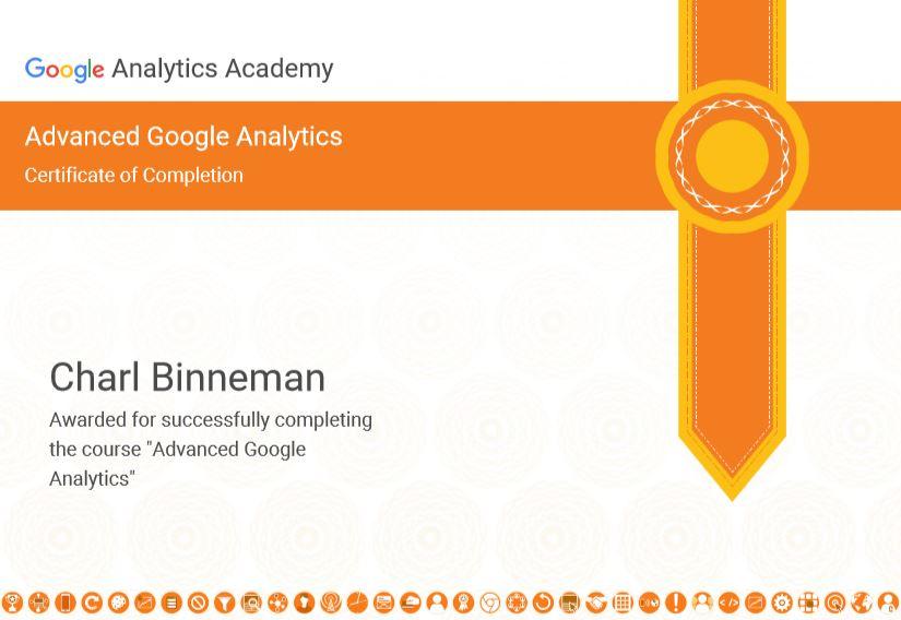 Free Google Analytics Course Certificate Charl Binneman